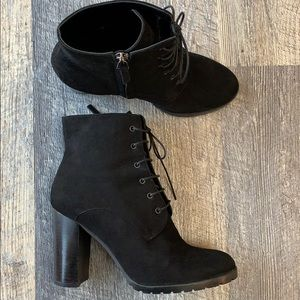 Barneys New York Suede Leather Black Ankle Boots